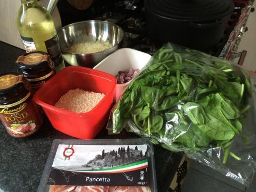 risotto, pancetta, spinazie, parmezaanse kaas